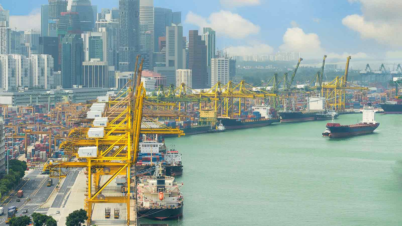 Vista of a shipping port cityscape.