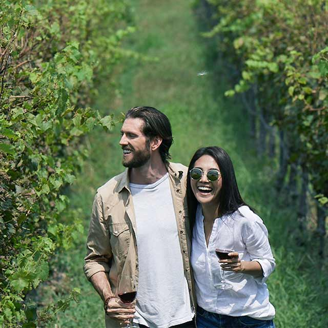 couple strolling in a plantation holding wine glass