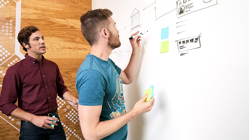 Two guys discussing workplan on a whiteboard